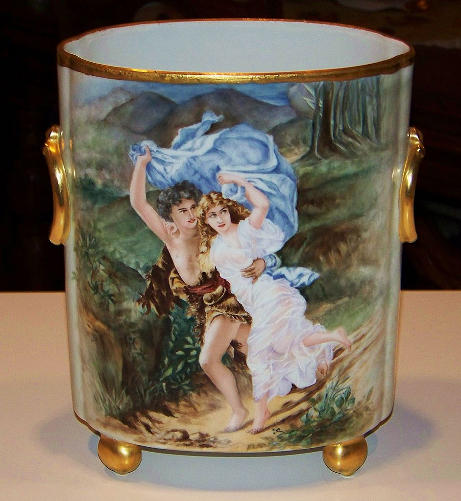 "Gorgeous Limoges 1900 Hand Painted ""The Storm"" 9-1/2"" Cache Pot Artist Signed"