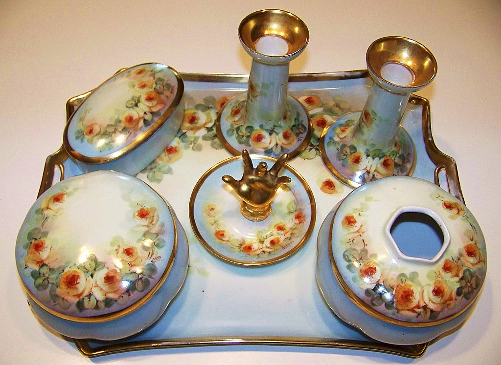 "Attractive 1900's Austria Hand Painted ""Petite Yellow Roses"" 10 Pc. Matched Dresser Set by Artist, ""Alfred"""