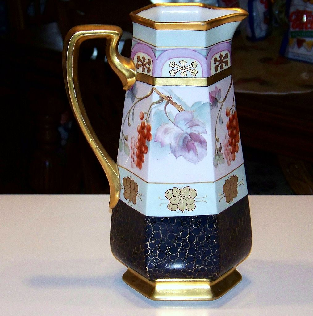 """B & Co. France Exceptional 1914 White's Art Co. of Chicago """"Red Currant"""" 12-1/2"""" 6-Sided Cobalt Decor Tankard"""