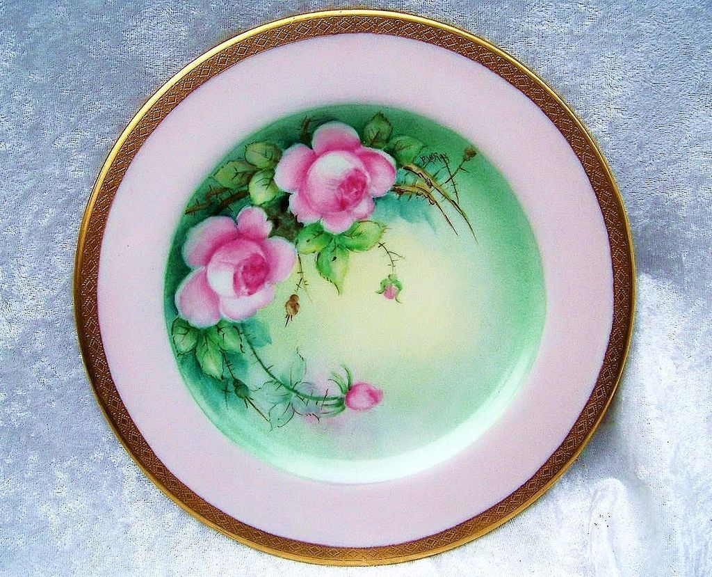 "Gorgeous Bavaria 1900's Hand Painted ""Pink Roses"" 8-1/4"" Plate by Pickard Artist ""LeRoy"""