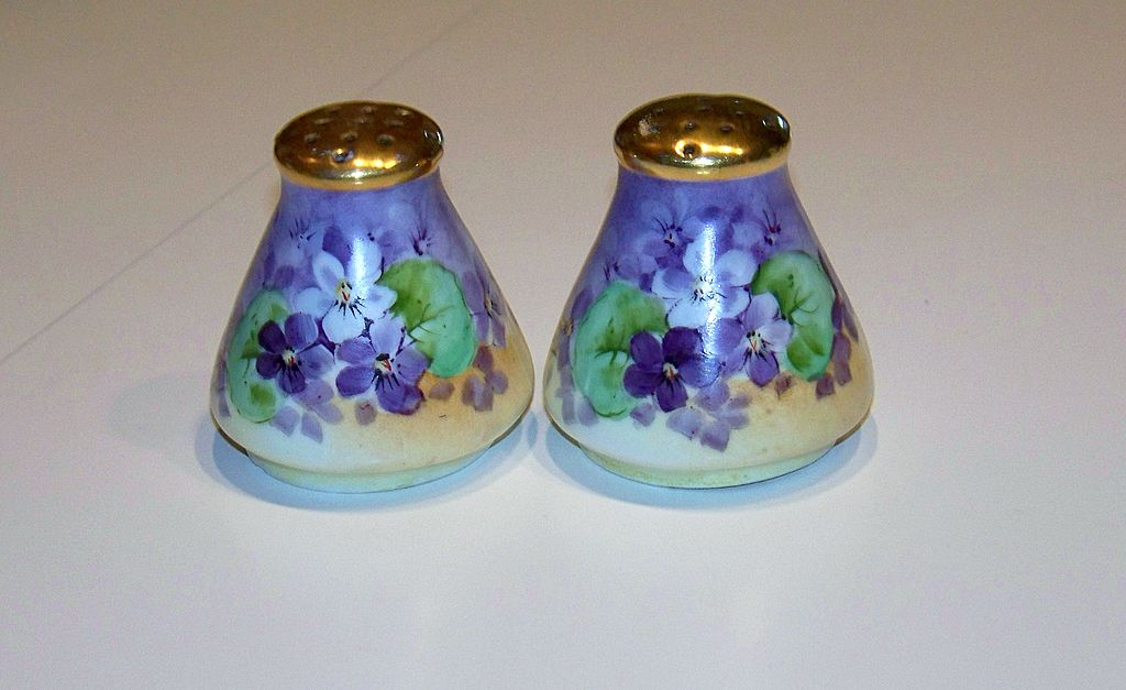 "Vintage 1900's Bavaria Hand Painted ""Deep Violets"" 2-1/2"" Salt & Pepper Shaker by Artist, ""M.Moyer"""