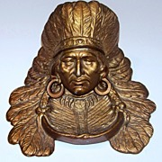 """Vintage 1900's Cast Iron """"Indian Chief"""" 7-1/4"""" Ink Well"""