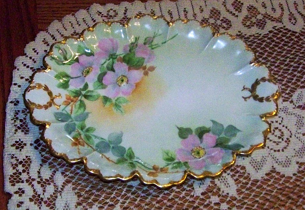 "Attractive Haviland France Hand Painted ""Wild Pink Roses"" 11-1/4"" Dresser Tray"