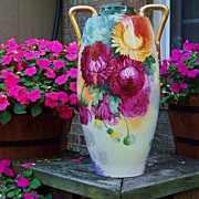 """Spectacular 1900's Limoges France Colorful Hand Painted """"Mums"""" 17-1/4"""" Vase by Artist """"Edna Plack"""""""
