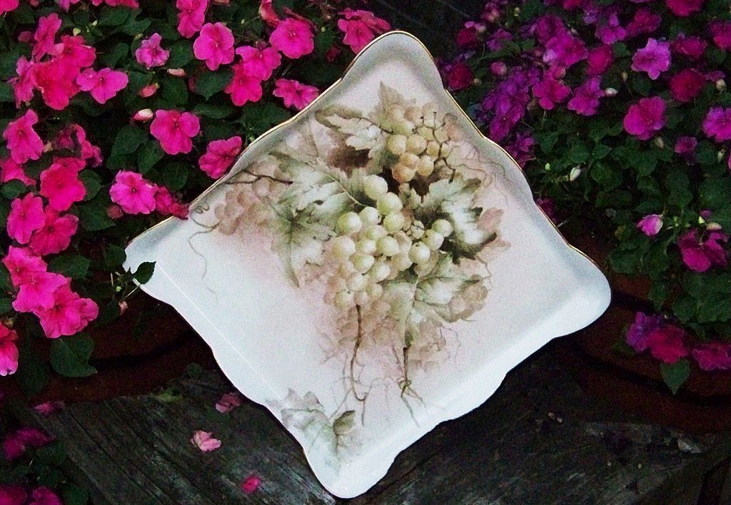 "Superb J.P.L. France 1900's Hand Painted ""Grapes"" 12"" Tray"