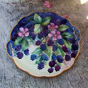 "Attractive 1920-30's Bavaria Hand Painted ""Blackberry"" 10-1/2"" Plate by Artist, ""G. Lewis"""