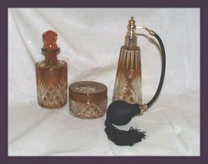 Deco Czech Bohemia Amber Perfume Vanity Set