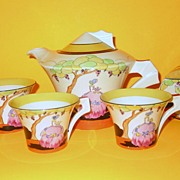 Clarice Cliff Bizarre Applique Idyll Daffodil Tea for Two 1932