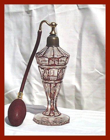Czech Ruby Cased Intaglio Perfume Atomizer