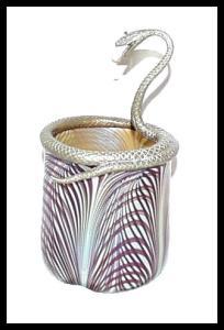 Deco Edgar Brandt Style Art Glass Snake Vase
