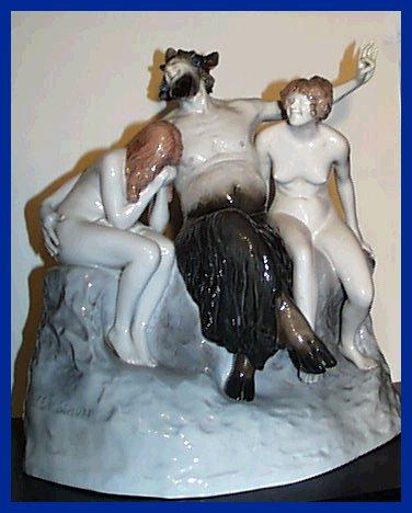 Deco Rosenthal Faun with Nude Nymphs Large Figurine