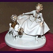 Deco Rosenthal Lady and Poodle Figurine