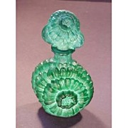 Czech Ingrid Chrysanthymum Malachite Perfume Bottle
