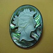 Abalone Cameo Brooch - 1920 Circa