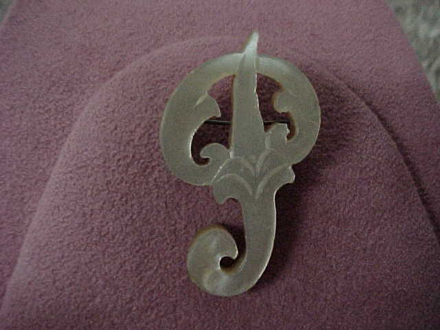 Early 1900's Mother-of-Pearl Brooch - Chinese Letter