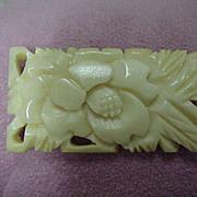 Victorian Carved Bone Brooch, Floral
