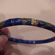 Cobalt Blue, with Flowers, Cloisonne Bangle Bracelet - 1960's