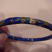 Cobalt Blue, with Flowers, Cloisonne Bangle Bracelet - 1960's