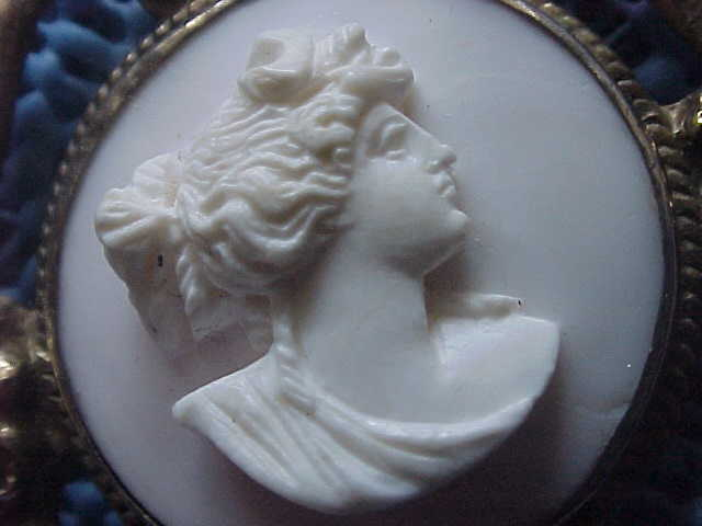 "1850's Coral Cameo - ""Diana"" - Brooch - in Sterling Art Nouveau Setting"