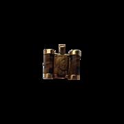 """Unique Carved Tiger-Eye Cameo - """"Double"""" Portrait - Two Roman Warriors - Pendant - 14KG"""