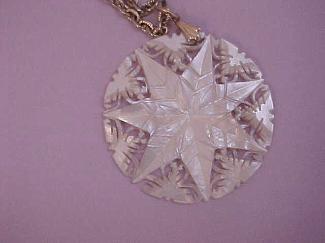 Mother-of-Pearl Seven-Point Star Pendant - Hand carved