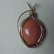 Coral Cabochon Pendant - Contemporary Gold Wirewrap