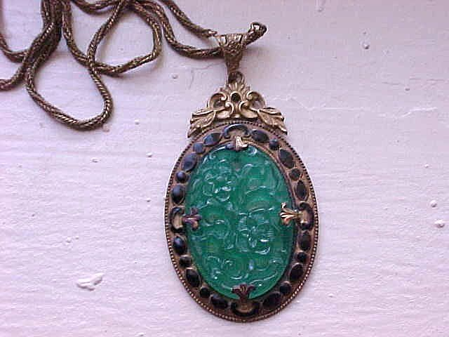 Green Glass Pendant - Oriental Floral Motif with Enameling, Gold Tone
