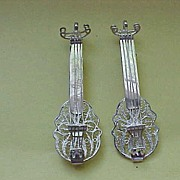 """Two Guitars"" - two Sterlilng Silver Guitar Brooches - Sold Together"
