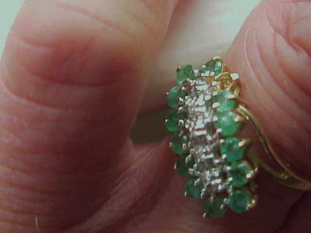 "Ladies Emerald/Diamond Ring- 10KG - Size 7 - sold ""as is"""