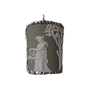 Wedgwood Pendant - Green Jasperware - set in Sterling Silver
