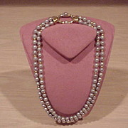 Cultured Pearl Necklace - with diamonds - 2-Strand - 14KG