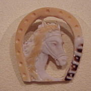Horse-in-a-Horseshoe Cameo - Unusual - Contemporary - Tri-Color - Pendant