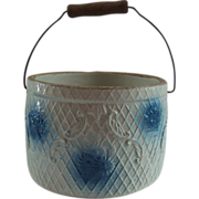 Blue and White Stoneware Butter Keeper Crock Daisy Cluster n Cosmos Flowers Pattern