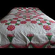 Vintage Bell Flower Applique Quilt