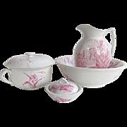 Antique English Ironstone Red Transferware Wash Set F. Winkle Iris Pattern Pitcher Bowl Soap Dish Chamber Pot