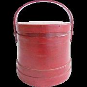 Antique Primitive Wood Firkin Sugar Bucket