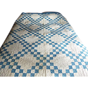 Antique Blue and White Double Irish Chain Quilt