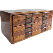 Antique Oak 5 Drawer Watchmakers Cabinet
