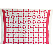 Vintage Red and White Irish Chain Crib Quilt