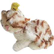 Vintage Tiny Steiff Snurry Sleeping Tabby Cat Kitten