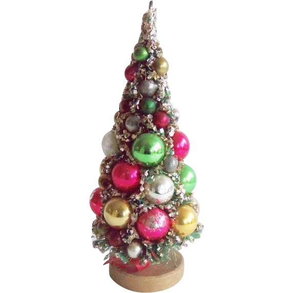 8 vintage christmas bottle brush tree with mercury glass for Bottle brush christmas tree decorations
