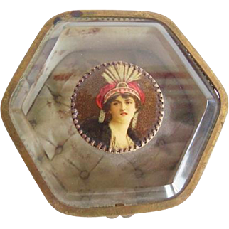 Antique French Ormolu Beveled Glass Dresser Box Portrait Medallion