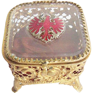Vintage Filigree Enameled German Falcon Souvenir Beveled Glass Ormolu Dresser Box