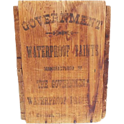 Antique Government Waterproof Paint Company Boston Massachusetts Wooden Shipping Crate