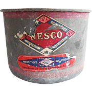 Old Galvanized Nesco 8 Quart Dry Measure Original Label With Red Stripe