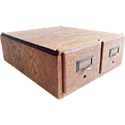 Vintage Oak 2 Drawer Library Card Catalog File Box