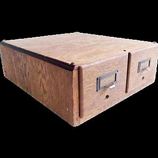 Vintage Oak 2 Drawer Library Card Catalog File Box