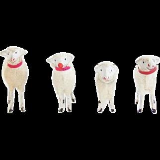 Antique German Putz Wooly Sheep Flock of 4
