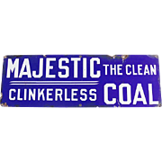 Majestic Coal Porcelain Metal Sign The Clean Clinkerless Coal