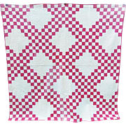 Vintage Red and White Triple Irish Chain Quilt